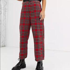 Vtg. PENDLETON Red Tartan Plaid Wool Trousers High Waisted Straight Leg Cropped